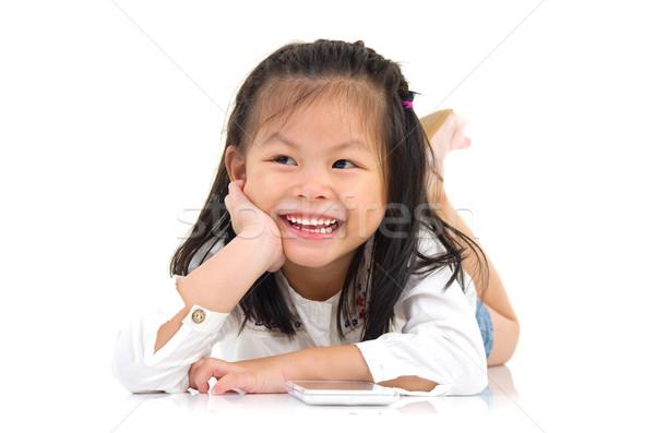 Asian bambina ritratto ragazza sorriso kid Foto d'archivio © yongtick
