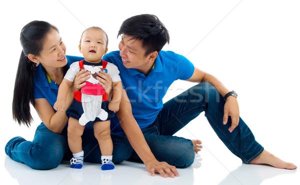 アジア 家族の肖像画 家族 子 母親 少年 ストックフォト © yongtick