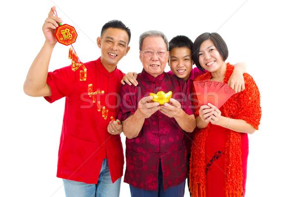 アジア 家族 3  世代 を祝う 旧正月 ストックフォト © yongtick