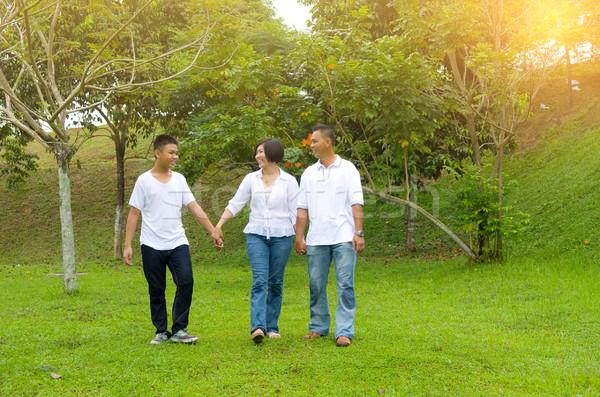 Asiático família chinês relaxante ao ar livre parque Foto stock © yongtick