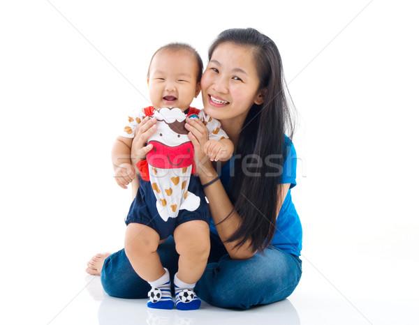 Asiático família mãe jogar bebê menino Foto stock © yongtick