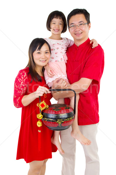 Asian familie vieren vrouw gelukkig Stockfoto © yongtick