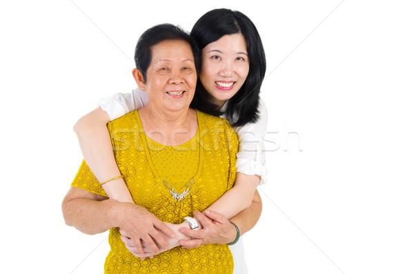 Asian familie senior vrouw dochter gelukkig Stockfoto © yongtick