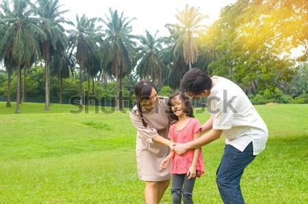 Asia familia tiempo aire libre mujer Foto stock © yongtick