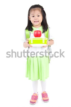 ázsiai iskolás lány általános iskola lány tart ebéd Stock fotó © yongtick