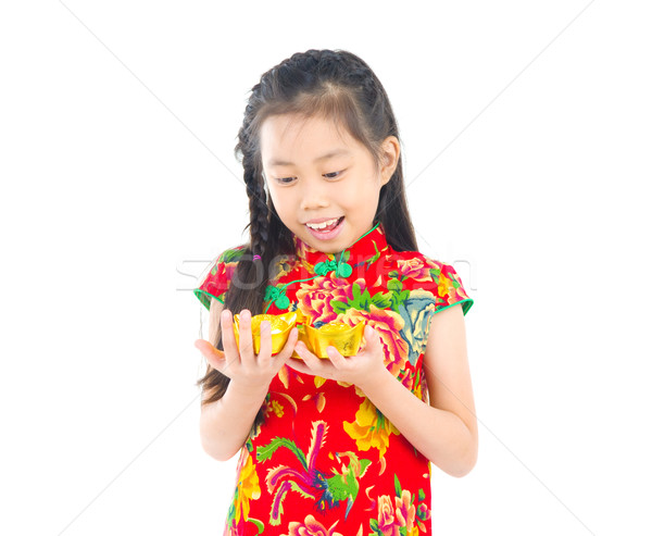 Foto stock: Asiático · criança · China · menina · tradicional · chinês