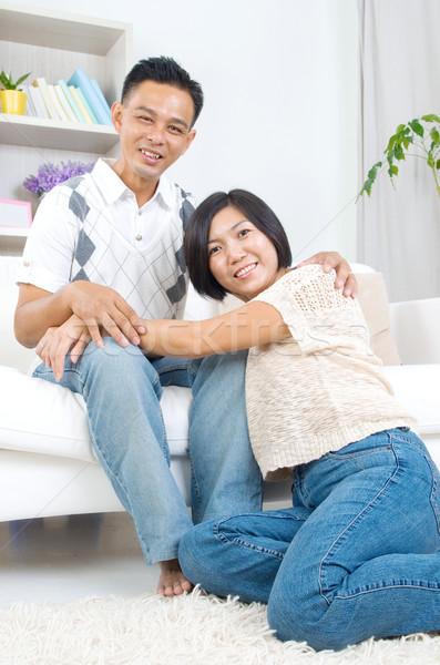 Asian paar portret man vrouwelijke Stockfoto © yongtick