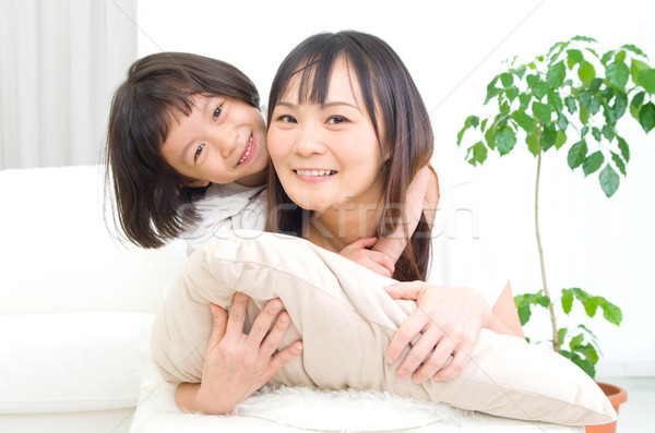 Asiático família retrato mulher menina Foto stock © yongtick