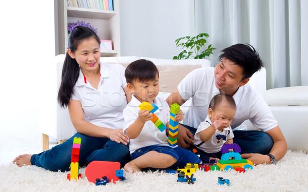 アジア 家族 演奏 おもちゃ 背景 楽しい ストックフォト © yongtick