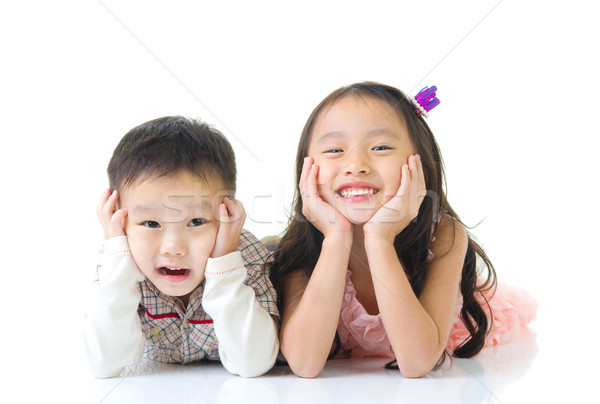 アジア 子供 笑顔 少年 子供 階 ストックフォト © yongtick