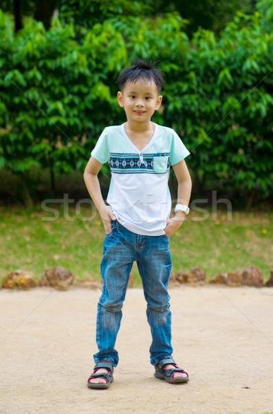 アジア 少年 屋外 肖像 笑顔 ストックフォト © yongtick