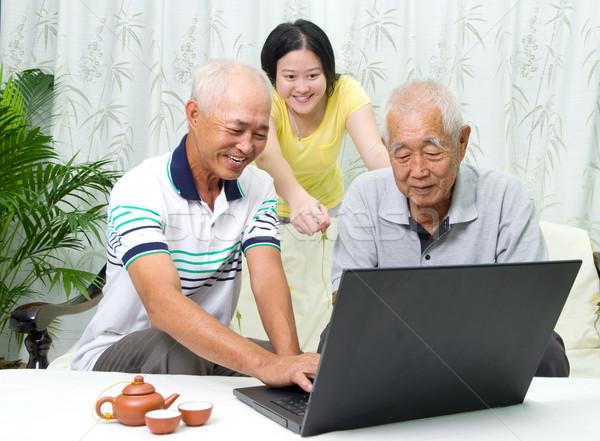 Asiático família senior homem casa Foto stock © yongtick
