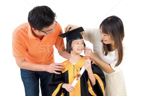 Asiático família criança graduação foto amor Foto stock © yongtick