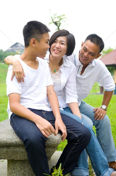 Asiático família chinês relaxante parque feliz Foto stock © yongtick