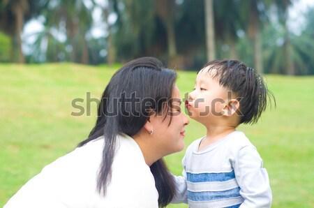ázsiai család anya fiú nő gyermek Stock fotó © yongtick