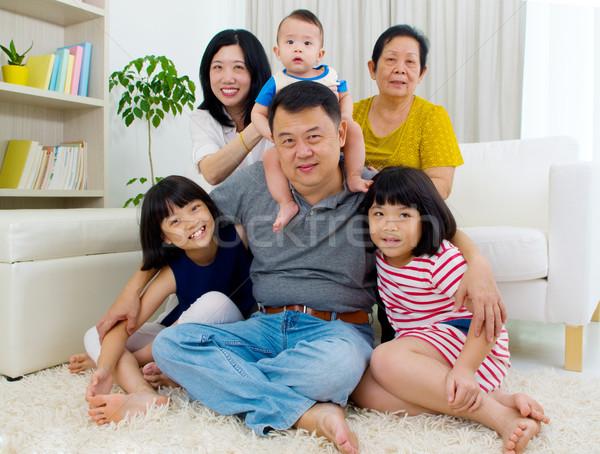 Asian famiglia bella generazioni felice madre Foto d'archivio © yongtick