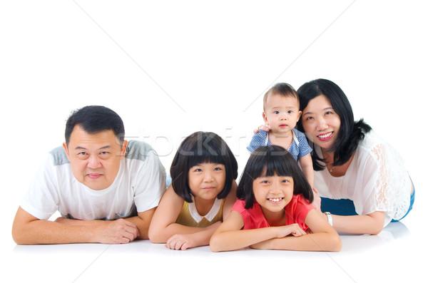 Asiático retrato de família família mulher homem feliz Foto stock © yongtick