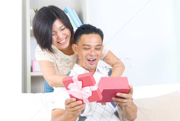 Asiático casal menina namorado dom mulher Foto stock © yongtick