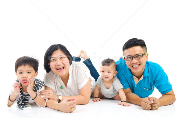 アジア 家族の肖像画 家族 女性 男 幸せ ストックフォト © yongtick