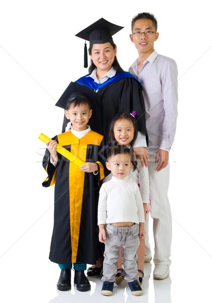 Asiático família mãe filho graduação foto Foto stock © yongtick