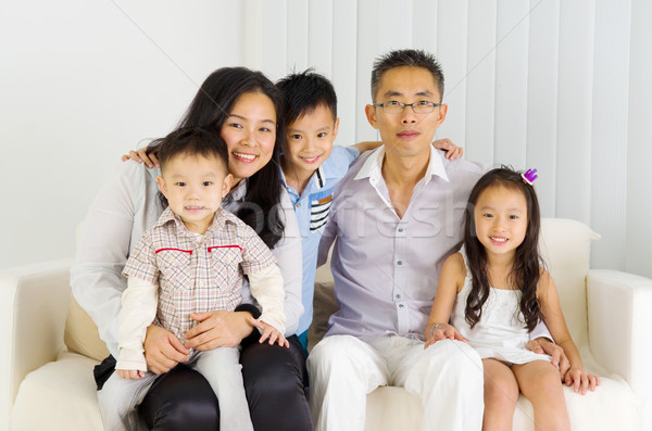 Asiático família retrato mulher homem Foto stock © yongtick