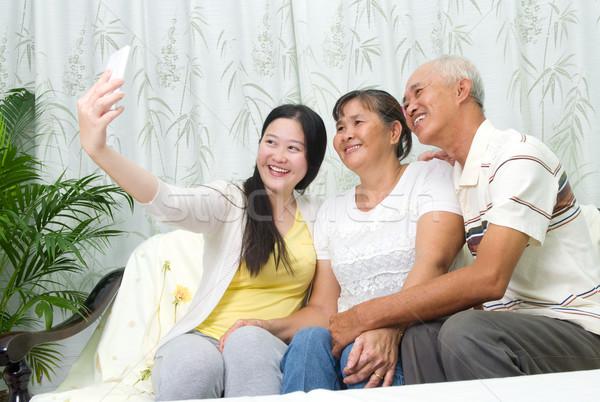 アジア 家族 現代 技術 年齢 人 ストックフォト © yongtick