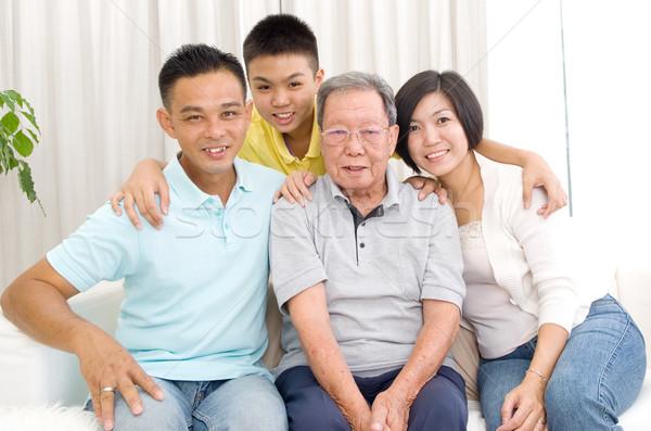 Asiático gerações família retrato belo Foto stock © yongtick