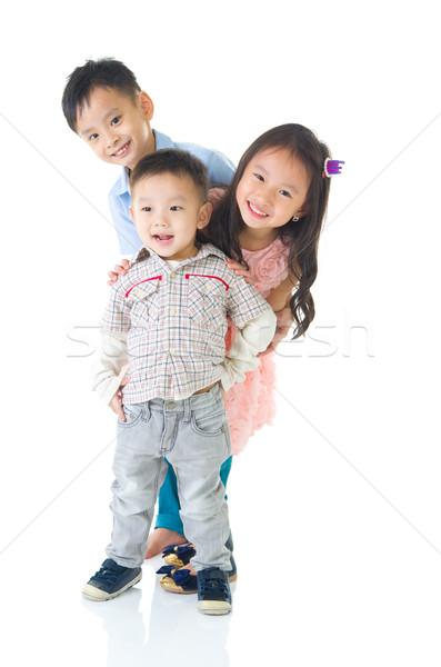 Asiático crianças retrato família diversão menino Foto stock © yongtick
