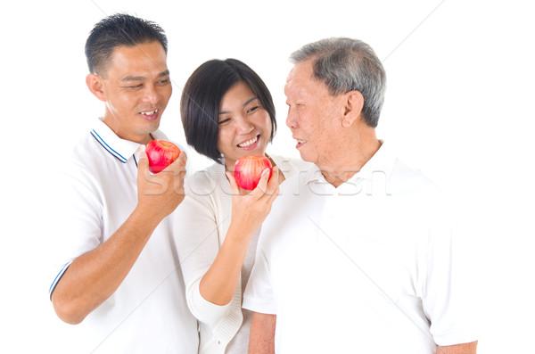 アジア 家族 幸せ リンゴ シニア ストックフォト © yongtick
