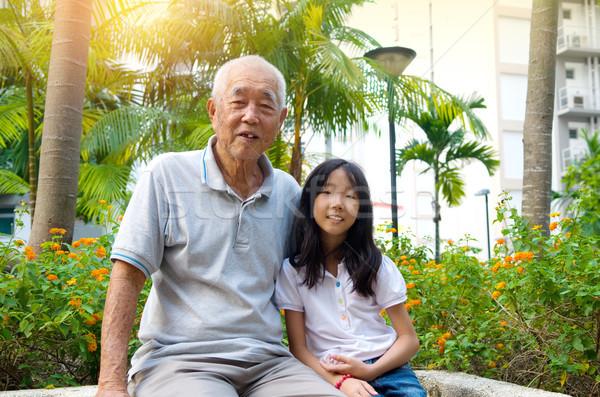 アジア 家族 屋外 肖像 シニア 男 ストックフォト © yongtick