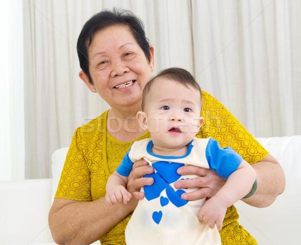 Asian famiglia senior donna nipote baby Foto d'archivio © yongtick
