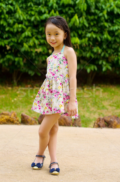 Asian kid outdoor portret weinig meisje Stockfoto © yongtick