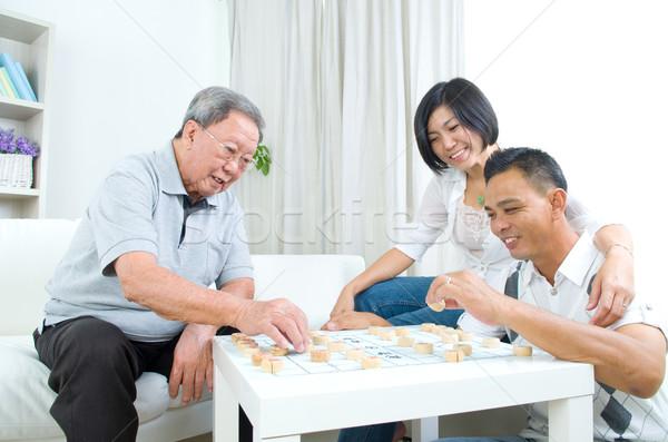 ストックフォト: アジア · 家族 · 中国語 · 演奏 · チェス · ホーム
