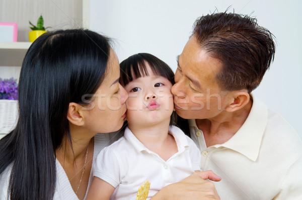 アジア 家族 親 キス 顔 ストックフォト © yongtick