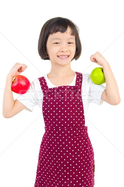 Asiático criança menina vermelho verde Foto stock © yongtick