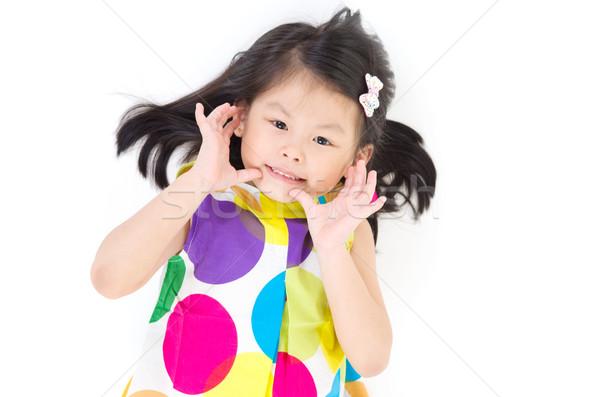 Asian meisje glimlach gelukkig kind kid Stockfoto © yongtick