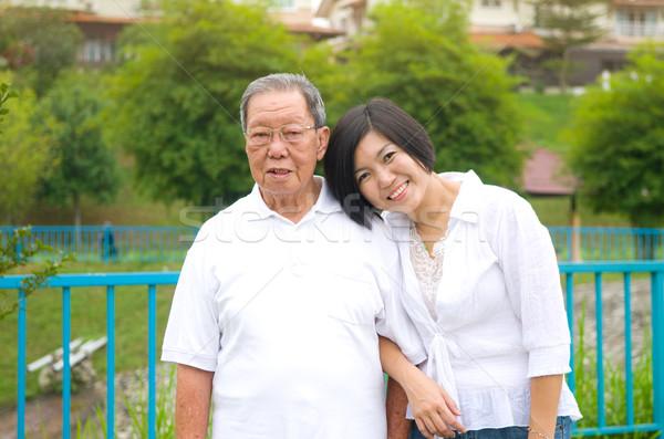 ストックフォト: アジア · 家族 · シニア · 男 · 娘 · 幸せ