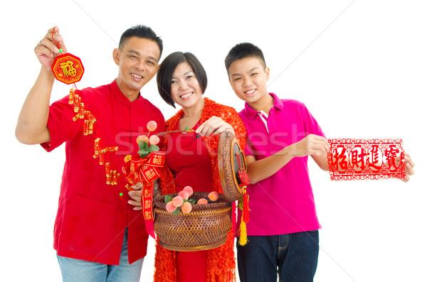 Asian famiglia celebrare capodanno cinese donna bambini Foto d'archivio © yongtick