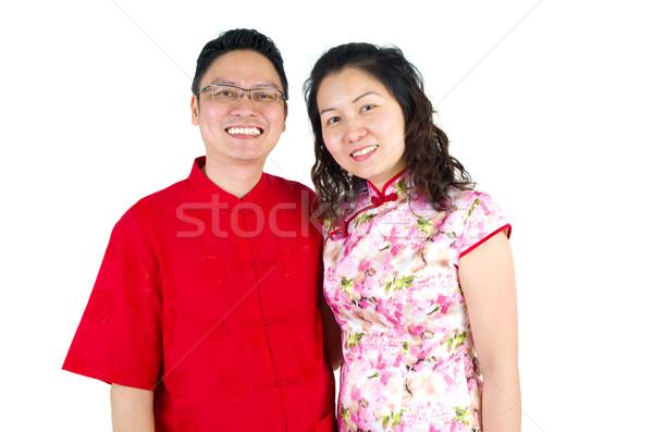 Asiático casal chinês ano novo chinês cara Foto stock © yongtick