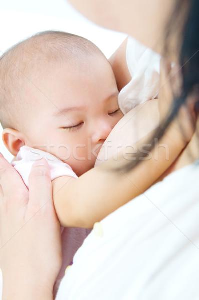 Borstvoeding asian moeder vrouw meisje Stockfoto © yongtick