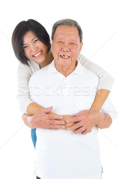 азиатских семьи старший человека дочь счастливым Сток-фото © yongtick