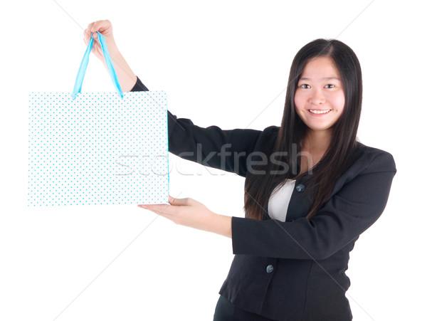 Asian jonge vrouw winkelen vrouw Stockfoto © yongtick