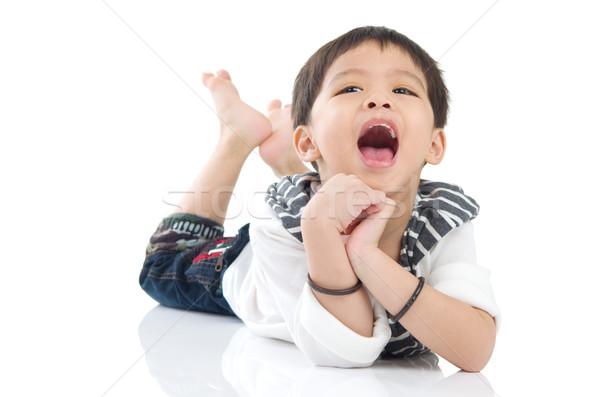 Asiático menino isolado branco sorrir beleza Foto stock © yongtick