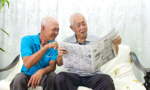 アジア 家族の肖像画 中国語 家族 読む 新聞 ストックフォト © yongtick