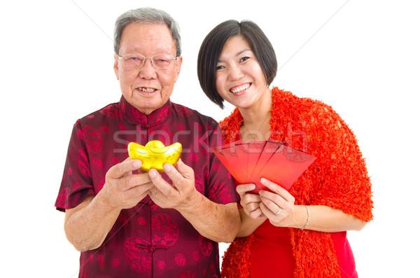 Asiático família senior homem filha celebrar Foto stock © yongtick