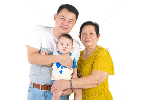 Asian familie senior vrouw zoon kleinkind Stockfoto © yongtick
