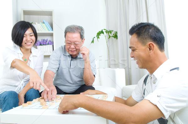 Stockfoto: Asian · familie · chinese · spelen · schaken · home