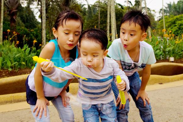 Asiático crianças ao ar livre menina natureza Foto stock © yongtick
