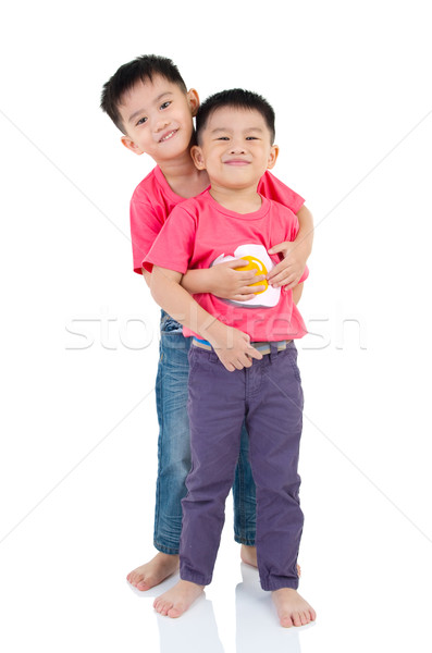 Asiático crianças retrato família raça masculino Foto stock © yongtick