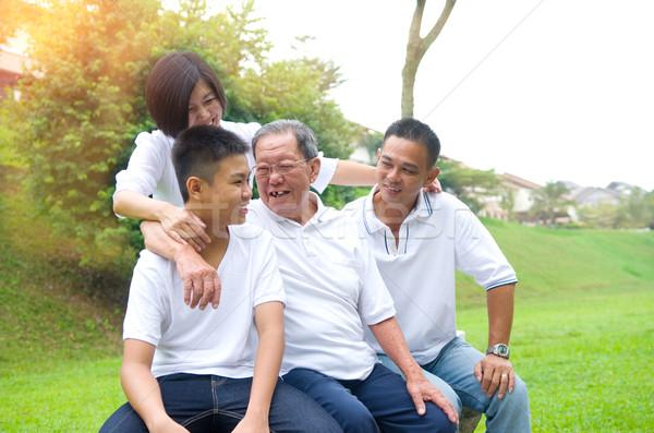 Stock foto: Asian · Familienbild · chinesisch · Familie · entspannenden · Park
